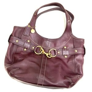 Coach | Large Brass Clasp Burgundy Leather Tote